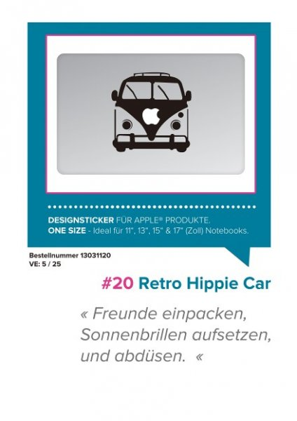 MACBOOKART Designsticker Retro Hippie Car Verpackung